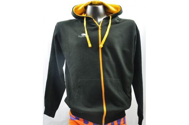 Pullover With Hood Black and Orange