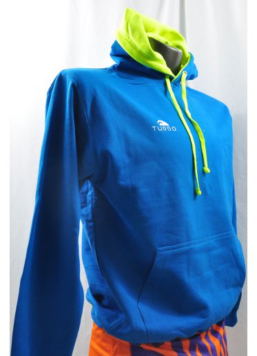 Pullover With Hood Blue Sky and Yellow