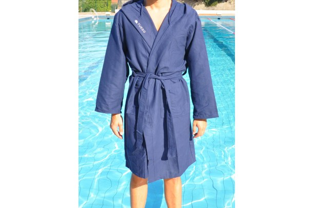 Bathrobe Navy Blue Microfiber